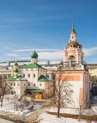 Ancient temples on the ancient street of Varvarka in winter Moscow