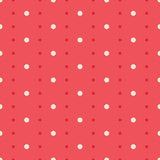 Polka dot seamless vector pattern, white circles on red background
