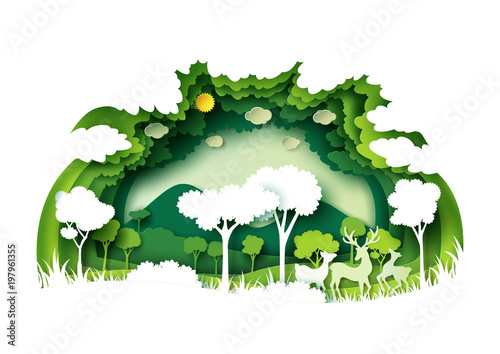 Save the world with ecology and environment conservation concept.Green forest and deers wildlife with nature background layers paper art style.Vector illustration.