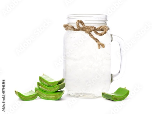 Fotobehang Sap Healthy Aloe vera juice in a mason jar glass isolated on a white background