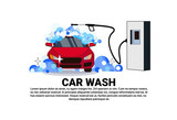 Car Wash Service Banner With Cleaning Vehicle Over Copy Space Background Flat Vector Illustration