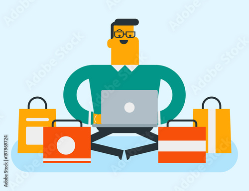 Young caucasian white man sitting on the floor among shopping bags with a laptop computer. Man doing online shopping. Guy buying on internet. Vector cartoon illustration. Horizontal layout.