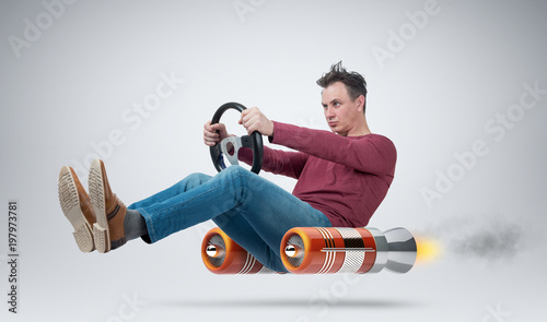 Funny man car driver with a wheel, concept of alternative transport
