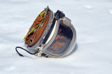 Soviet pilot military helmet on the snow - 197975746