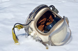 Soviet pilot military helmet on the snow - 197975767