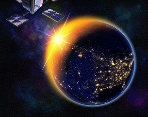 vision of sunrise over the earth visible from space,lights of cities of North America.Elements of this image are furnished by NASA