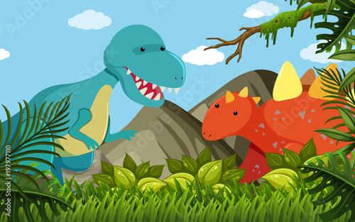 Foto op Plexiglas Pool Two dinosaurs in the field