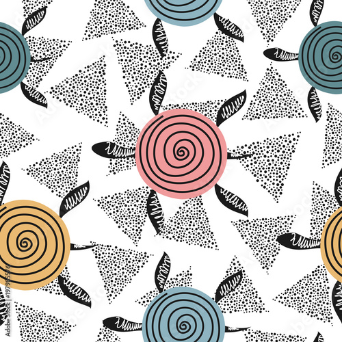 Cotton fabric Seamless pattern with cute turtles. Childish vector background with cartoon characters.