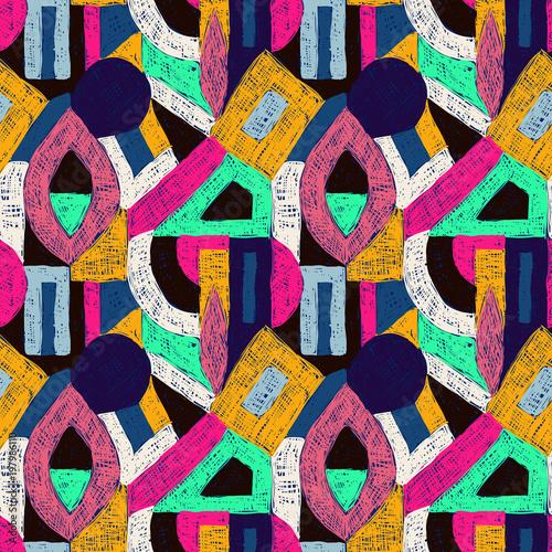 Fotobehang Pop Art Geometric pop art retro pattern doodle ornament blue pink