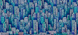 Hand drawn background with big city. Illustration with architecture, skyscrapers, megapolis, buildings, downtown. - 197993131