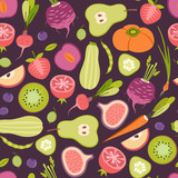 seamless pattern with fruits and vegetables - 197993178