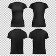Mock-up Black Women's t-shirt front+back