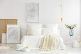 White minimalist master bedroom interior - 197999168
