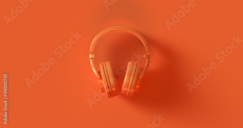 Orange Headphones 3d illustration