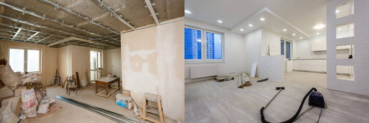 Comparison of a room in an apartment before and after renovation new house © Angelov