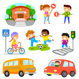 Set of cute cartoon kids and objects related to road traffic safety