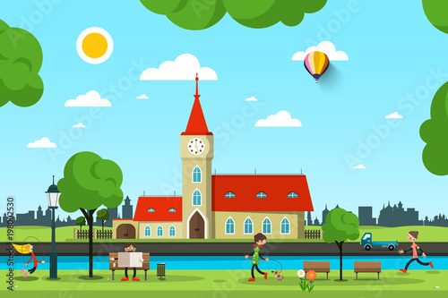 Wall mural Vector City with Church, River and People in Park. Sunny Summer Day Vector Illustration.