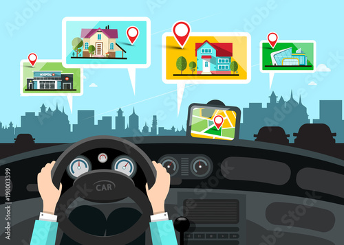 Car Navigation with City Public Buildings Map - Vector - 198003399