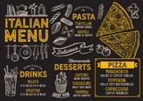 Pizza restaurant menu. Vector food flyer for bar and cafe. Design template with vintage hand-drawn illustrations. - 198007977