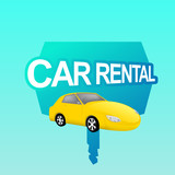 Vector cartoon illustration of yellow car with CAR RENTAL label
