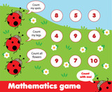 Educational children game. Counting game. Math kids activity. How many objects task