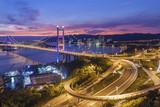 Tsing Ma Bridge in Hong Kong city at dusk