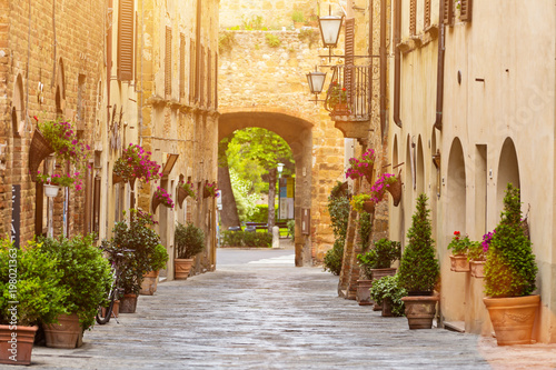 Colorful old street in Pienza, Tuscany, Italy - 198021363