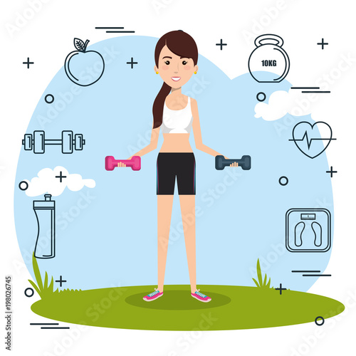 woman weight lifting with sports icons vector illustration design