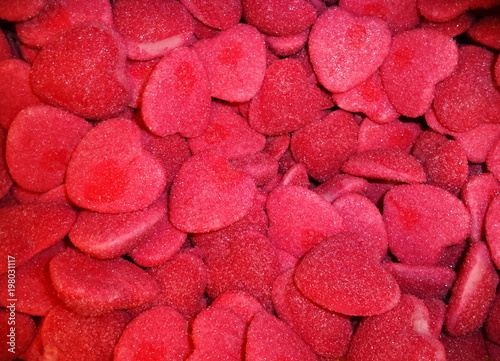 sugar candies in the form of hearts