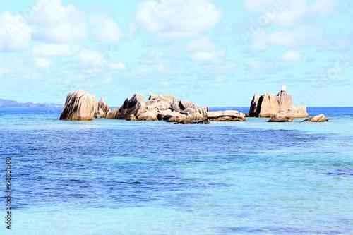 Foto op Plexiglas Lichtblauw Beautiful sandy beach, La Digue Island, Seychelles