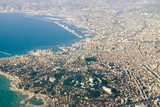 MARSEILLE, FRANCE, on March 2, 2018. The panorama of the city is visible from a window of the plane coming in the land at the airport