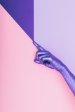 fashion pearly purple hand. ultra violet concept. pastel minimal. beauty and fashion
