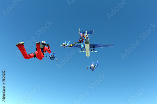 Fototapeta Formation skydiving. Skydivers have just jumped out of a plane.
