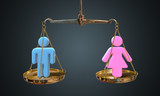 Men and women equality concept. Scales are comparing men and women. - 198044360