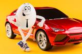 Easter egg businessman near red luxury car