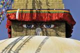 Stupa Bodnath oder Boudhanath oder Boudha, UNESCO-Weltkulturerbe, aufgemalte Augen, bunte Gebetsfahnen, tibetischer Buddhismus, Kathmandu, Nepal, Asien