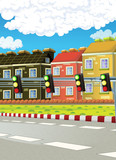 cartoon scene with street and some city in the background - illustration for children