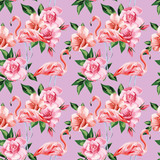 Flamingo rose flowers pink color seamless pattern