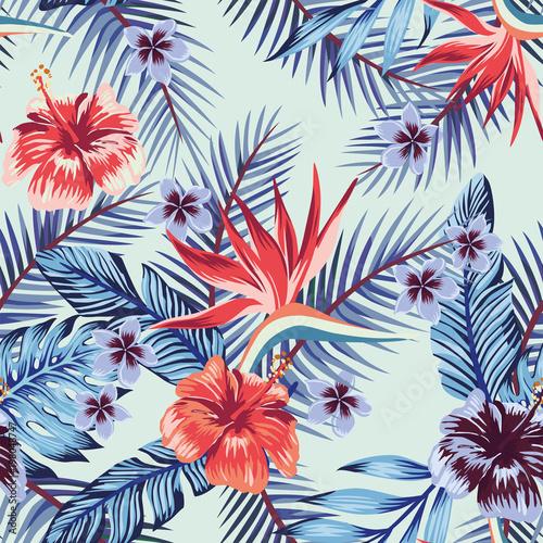 Blue hibiscus plumeria leaves seamless light background
