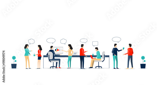 flat vector business team working collaboration and group business  meeting  concept