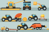 Modern agricultural vehicle isolated set. Agriculture tractor hay baler, combine harvester, seeding machine, plowing equipment vector illustration. Rural industrial farm machinery, comercial transport - 198049539