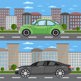 Vintage car and comfortable sedan in cityscape. City street road traffic vector illustration, urban landscape background with skyscrapers. Modern family automobile, people transportation, auto vehicle