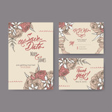Set of three original attractive wedding cards based on bouquet vintage sketch and brush calligraphy.
