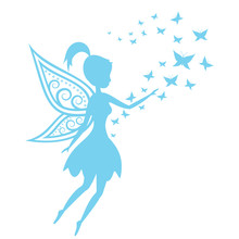 Silhouette Of A Fairy  Butterflies Sticker