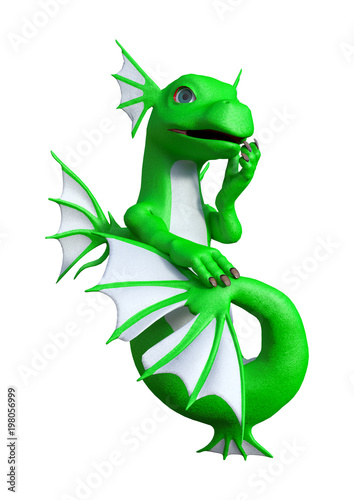 3D Rendering Fantasy Hatchling Sea Dragon on White - 198056999