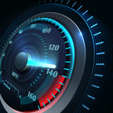 Futuristic sports car speedometer. Abstract speed racing vector background