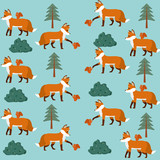 Wild animals and nature pattern background