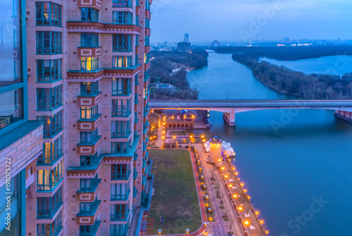 Fotobehang Moskou View of residential quarters in Moscow on a winter night