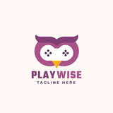 Play Wise Abstract Vector Sign, Symbol or Logo Template. Flat Style Gamepad Icon Incorporated in an Owl Face. Modern Typography. Good for Game Developers or a Cyber Sport Team.