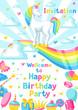 Happy birthday party invitation with unicorn and fantasy items - 198078331